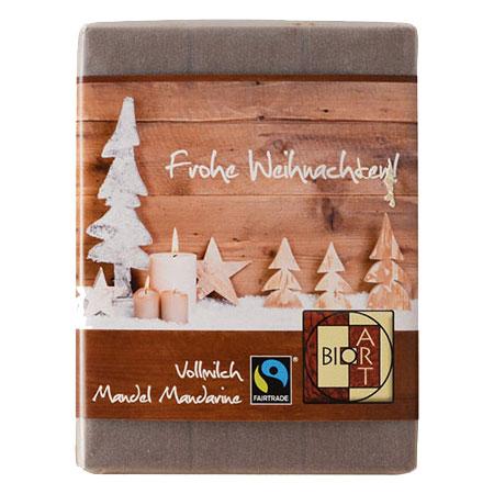 BioArt Schoko Frohe Weihnachten Vollmilch Mandel Mandarine 70g, Fairtrade