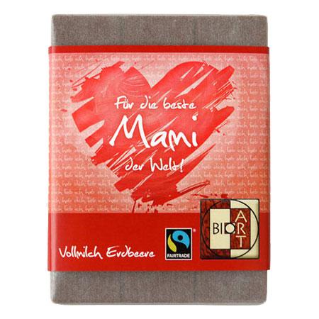 BioArt Schoko Für die beste Mami der Welt Vollmilch Erdbeer 70g, Fairtrade