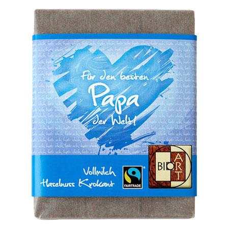 BioArt Schoko Für den besten Papa der Welt Vollmilch Haselnusskrokant 70g, Fairtrade