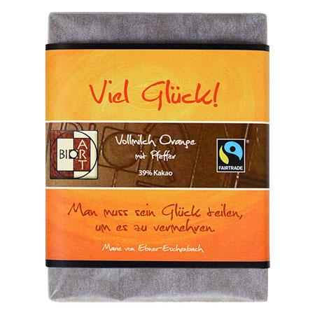 BioArt Motto Schoko Viel Glück Vollmilch Orange Pfeffer 70g, Fairtrade