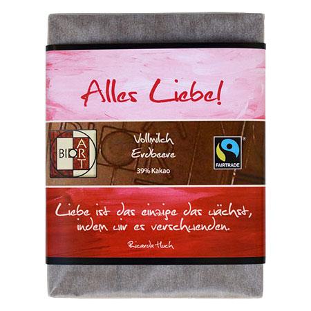 BioArt Motto Schoko Alles Liebe Vollmilch Erdbeer 70g, Fairtrade