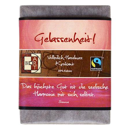 BioArt Motto Schoko Gelassenheit Vollmilch Haselnusskrokant 70g, Fairtrade