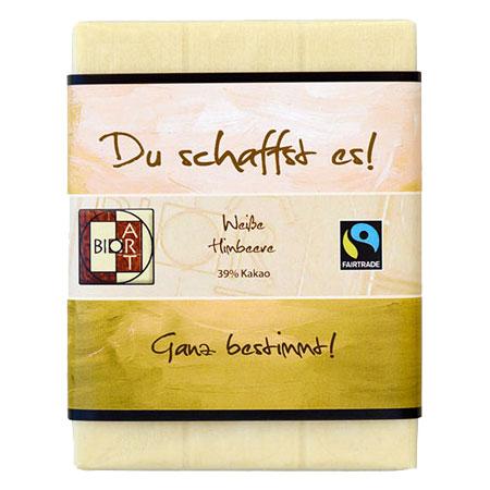BioArt Motto Schoko Du schaffst es Weiße Himbeere 70g, Fairtrade