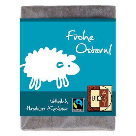 BioArt Schoko Ostern Schaf Vollmilch Haselnusskrokant 70g, FairTrade