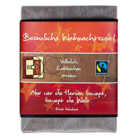BioArt Motto Schoko Besinnliche Weihnachtszeit Vollmilch Lebkuchen 70g, Fairtrade
