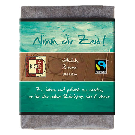 BioArt Motto Schoko Nimm dir Zeit Vollmilch Banane 70g, Fairtrade