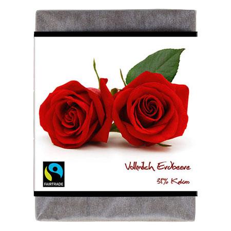 BioArt Schoko Rose Vollmilch Erdbeer 70g, Fairtrade