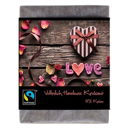 BioArt Schoko Love Vollmilch Haselnusskrokant 70g, Fairtrade