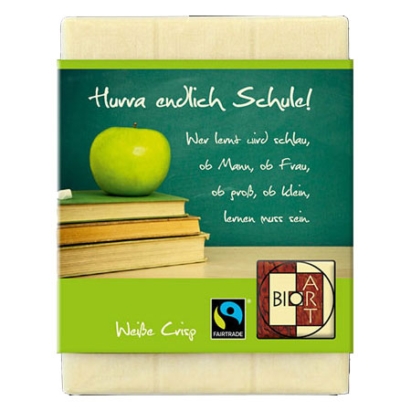 BioArt Schoko Schulbeginn Tafel Weiße Crisp 70g, Fairtrade