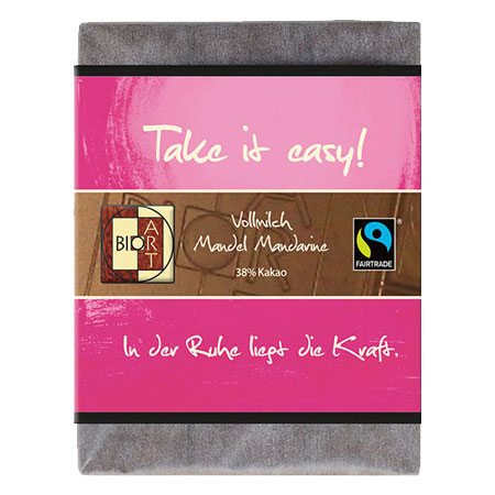 BioArt Motto Schoko Take it easy Vollmilch Mandel Mandarine 70g, Fairtrade