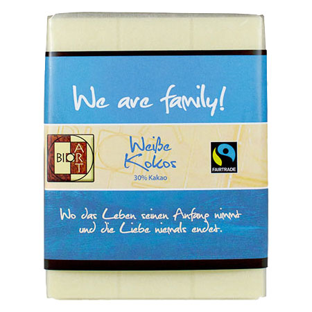 BioArt Motto Schoko We are family Weiße Kokos 70g, Fairtrade