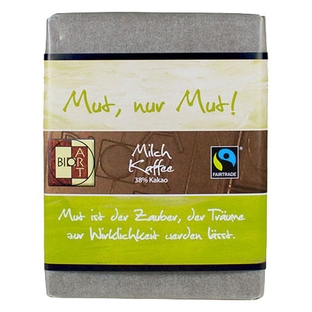 BioArt Motto Schoko Mut, nur Mut! Milch Kaffee 70g, Fairtrade