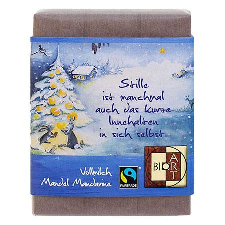 BioArt Schoko Weihnachten Baum Vollmilch Mandel Mandarine 70g, Fairtrade