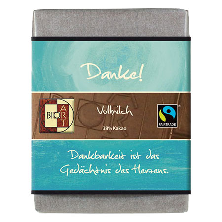 BioArt Motto Schoko Danke Vollmilch 70g, Fairtrade
