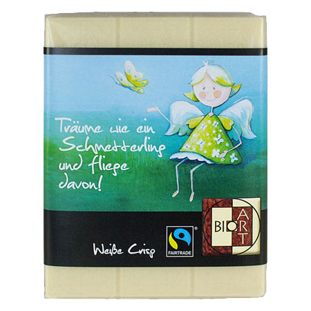 BioArt Schoko Engel Sweety Schmetterling Weiße Crisp 70g, Fairtrade