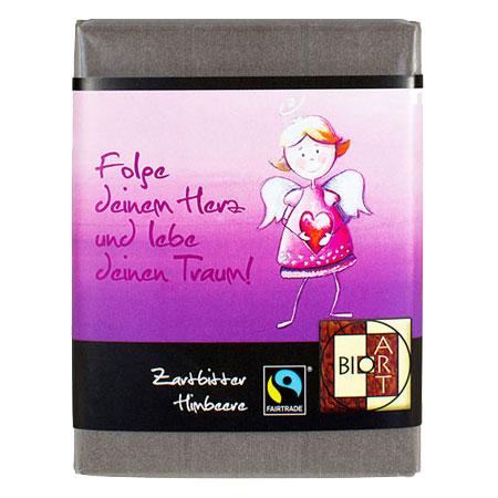 BioArt Schoko Engel Sweety Herz Zartbitter Himbeere 70g, Fairtrade