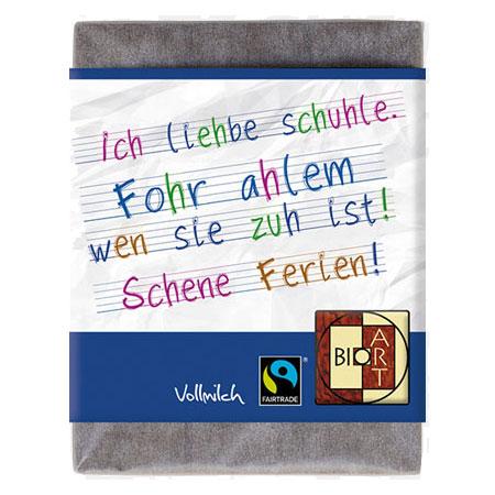 BioArt Schoko Ich liehbe Schuhle 70g, Fairtrade (Vollmilch)