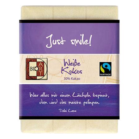 BioArt Motto Schoko Just smile Weiße Kokos 70g / FairTrade
