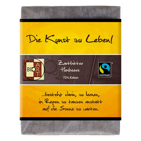 BioArt Motto Schoko Die Kunst zu Leben Zartbitter Himbeere 70g /FairTrade