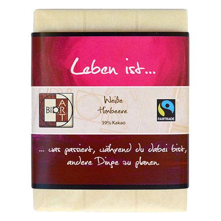 BioArt Motto Schoko Leben ist... Weiße Himbeere 70g, Fairtrade