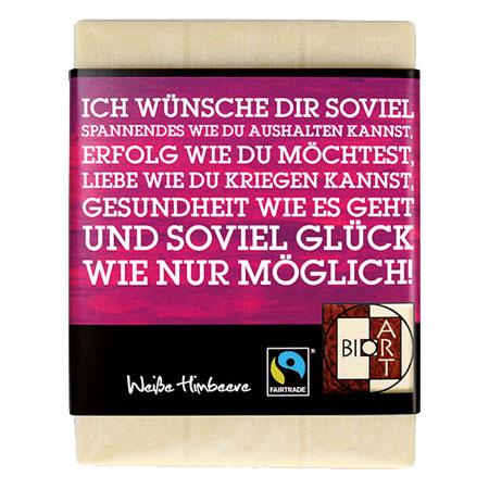 BioArt Schoko Lyrik wünsche Weiße Himbeere 70g, FairTrade