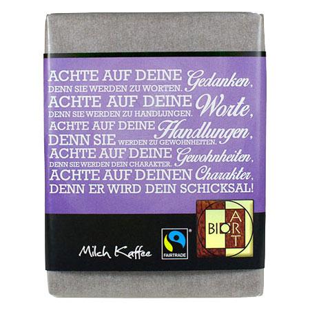 BioArt Schoko Lyrik Achte auf deine Gedanken Milch Kaffee 70g /FairTrade