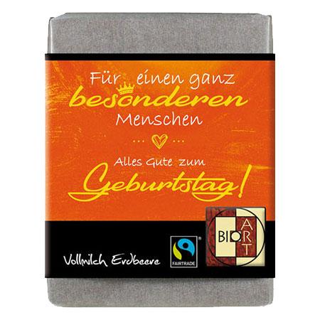 BioArt Schoko Lyrik Geburtstag Vollmilch Erdbeer 70g, Fairtrade