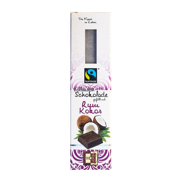 BioArt Vollmilchschokolade gefüllt mit Rum Kokos